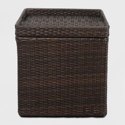 Wicker Storage Patio Accent Table - Brown -Threshold™