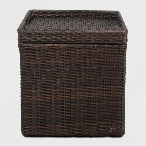 Outdoor Patio Furniture With Storage.Wicker Storage Accent Patio Table Threshold