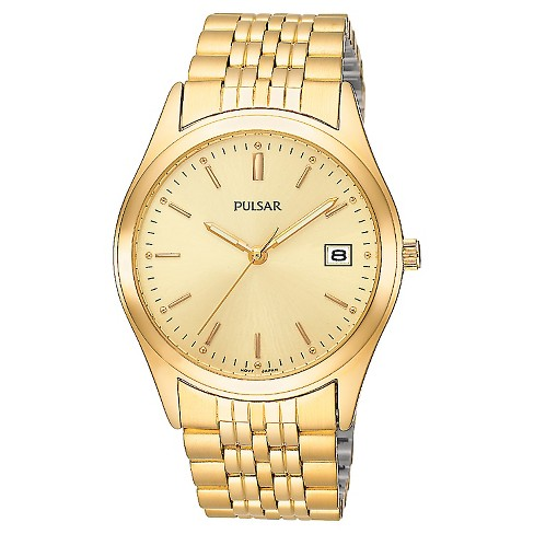 Men's Pulsar Lumibrite Calendar Watch - Gold Tone with Champagne Dial - PXH450 - image 1 of 1