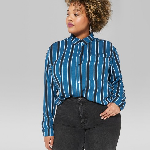 d487062920c9a3 Women s Plus Size Striped Long Sleeve Tie Front Button-Down Shirt - Wild  Fable™   Target