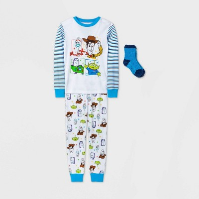 Boys' Disney Toy Story 2pc Pajama Set with Socks - White - Disney Store