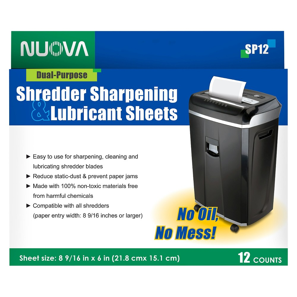 Aurora Nuova Shredder Sharpening & Lubricant Sheets 12ct This set of 12 Shredder Sharpening and Lubricant Sheets from Aurora Nuova takes innovation up a notch. Especially crafted for a hassle-free shredding experience, these sheets are designed to sharpen, clean and lubricate shredder blades for optimal use. Compatible for use with all shredders, these sheets replace the oily mess of the lubricating process, making it as simple as shredding a piece of paper.