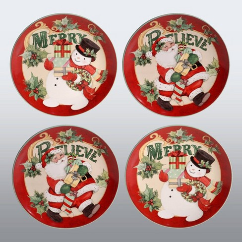"""11"""" 4pk Earthenware Believe Dinner Plates Red/White - Certified International - image 1 of 1"""
