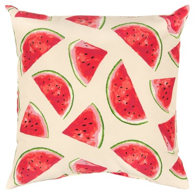 """22""""x22"""" Oversize Poly-Filled Watermelon Indoor/Outdoor Square Throw Pillow - Rizzy Home"""