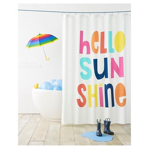 Hello Sunshine Shower Curtain White - Pillowfort™ - image 1 of 2