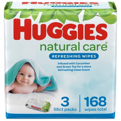 Huggies Natural Care Refreshing Baby Wipes Cucumber & Green Tea, Scented Flip-Top Packs - 3pk/168ct