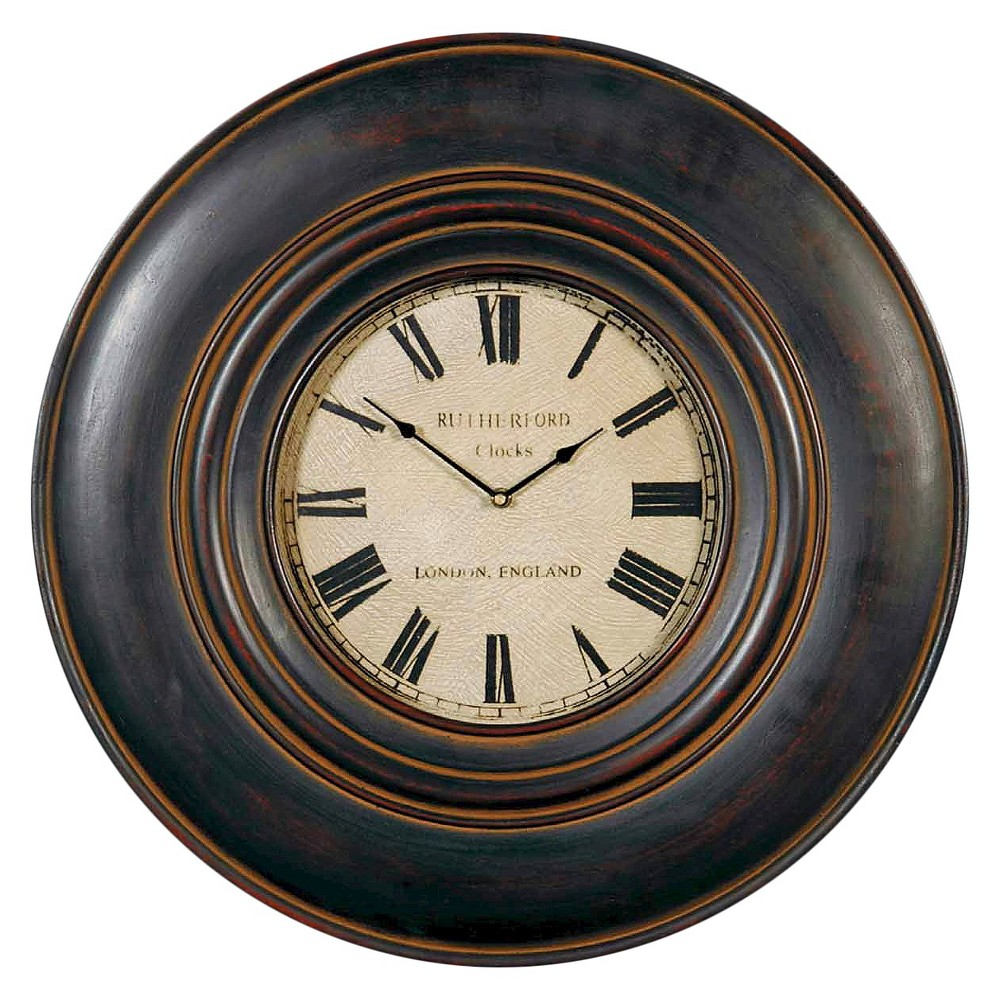 """Image of """"Adonis 24"""""""" Wooden Wall Clock Distressed Black - Uttermost"""""""