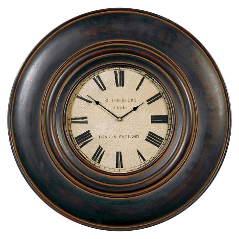 "Adonis 24"" Wooden Wall Clock Distressed Black - Uttermost® - image 1 of 2"