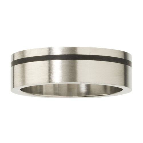 Men's Stainless Steel Ring with Black Accent Line, Size: Small, Black/Silver/Silver