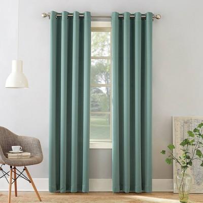 "63""x54"" Seymour Energy Efficient Grommet Room Darkening Curtain Panel Mineral - Sun Zero"