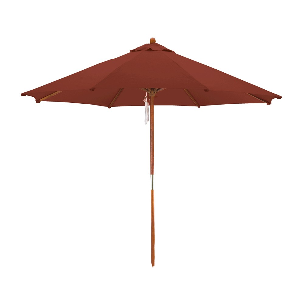 Image of 9' Wood Market Umbrella - Brick - Astella, Red Brick