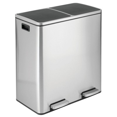 mDesign Large Metal Step Trash Can Garbage; 60 Liter, 2-Bin Removable Liner