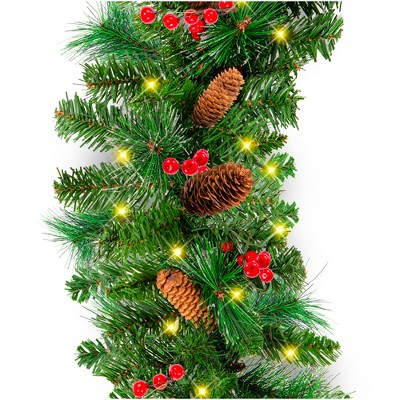 Best Choice Products 9ft Pre-Lit Christmas Garland w/ 50 LED Lights, Silver Bristles, Pine Cones, Berries