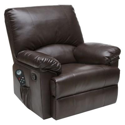 8pc Massage Rocker Recliner Bonded Leather Marbled Brown - Relaxzen