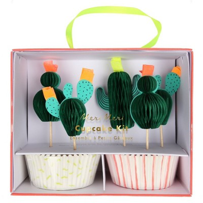 Meri Meri - Cactus Cupcake Kit - Baking Cups - 24 cupcake liners with toppers
