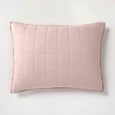 Standard Heavyweight Linen Blend Quilted Pillow Sham Blush - Casaluna™