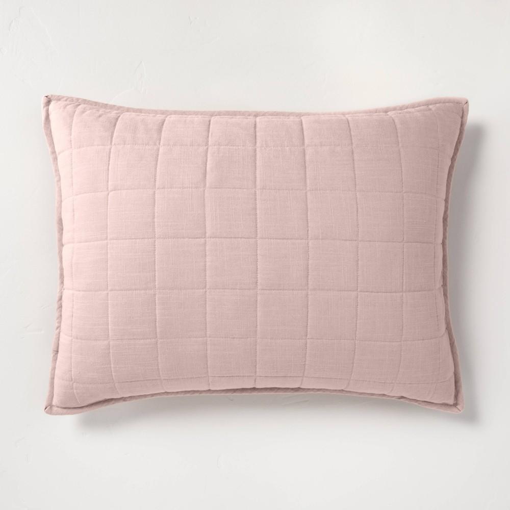 Standard Heavyweight Linen Blend Quilted Pillow Sham Blush - Casaluna