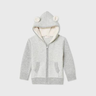Toddler Boys' Hoodie Zip Reverse Jersey Striped Cardigan - Cat & Jack™ Gray 3T