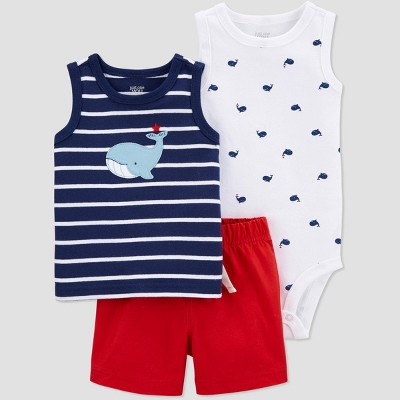 Baby Boys' Whale Top & Bottom Set - Just One You® made by carter's Blue/Red 3M