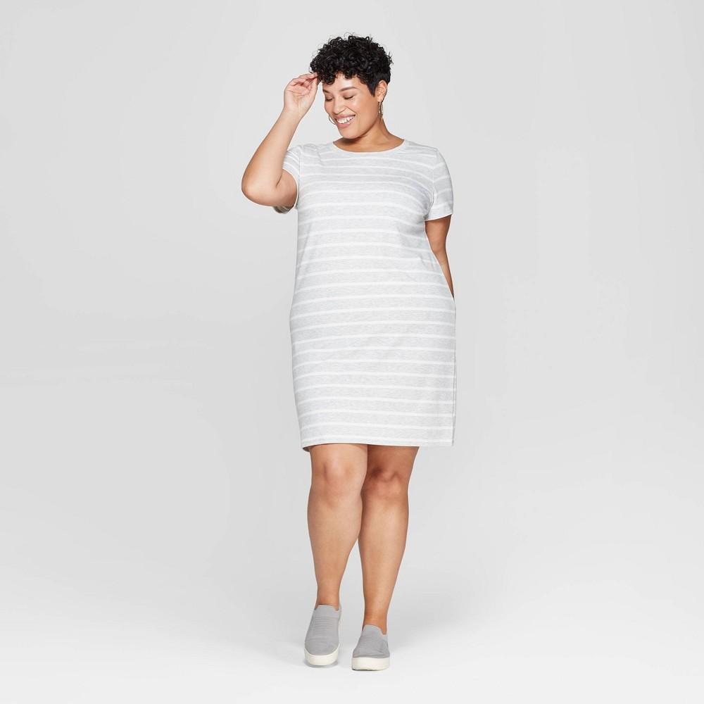 Women's Plus Size Striped Short Sleeve Crewneck T-Shirt Dress - Ava & Viv Gray/White 3X