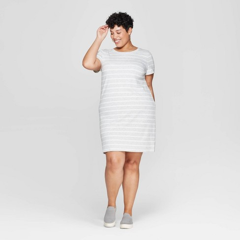 Women\'s Plus Size Striped Short Sleeve Crewneck T-Shirt Dress - Ava & Viv™