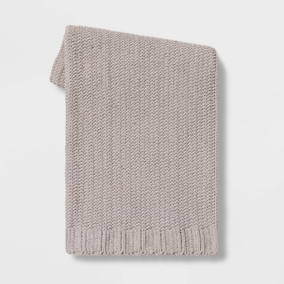 "50""x60"" Chenille Knit Throw Blanket Neutral - Threshold™"