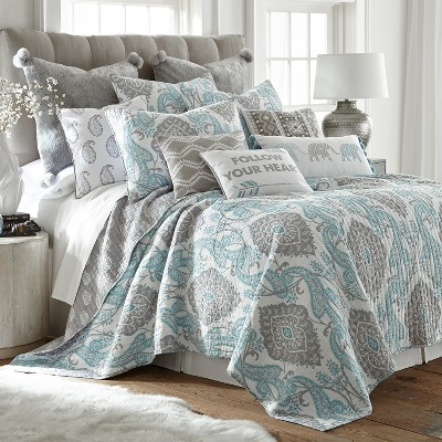 King Adia Quilt Set Blue - Homethreads