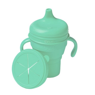 Austin Baby Collection Silicone Collapsible Cup Sippy & Snackie Lid Set - Mint