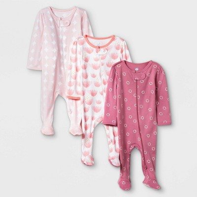 Baby Girls' Tie-Dye Sleep N' Play - Cloud Island™ Pink/Coral 6-9M