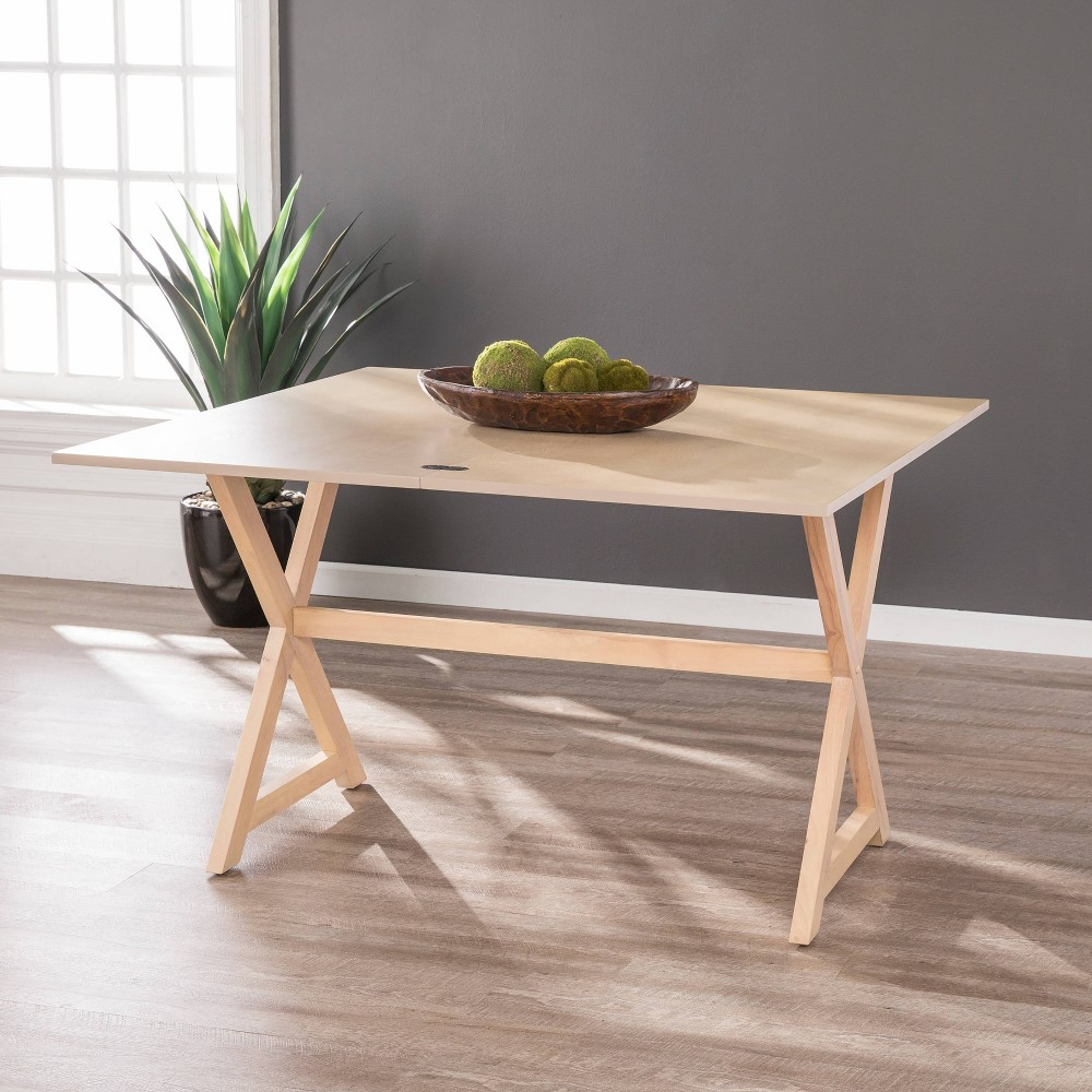 Image of Clackson Convertible Console to Dining Table Washed Brown Oak - Aiden Lane