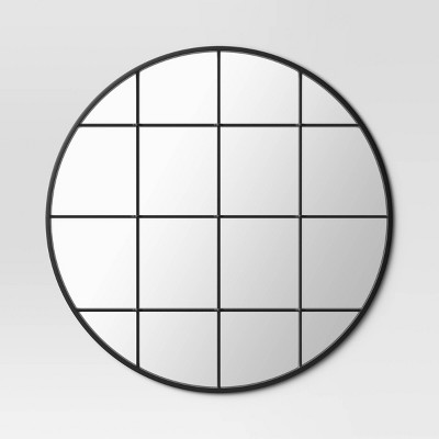 "27"" Round Window Pane Metal Wall Mirror Black - Threshold™"