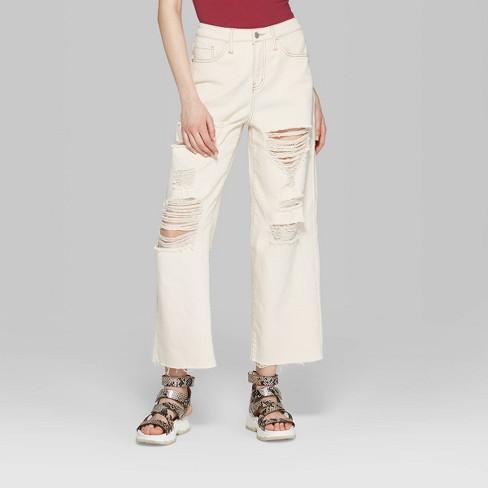 30068d0fc47 Women's High-Rise Destructed Wide Leg Cropped Denim Pants - Wild Fable™  Beige