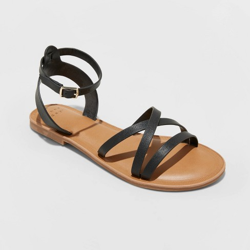 Women's Tillie Faux Leather Ankle Strap Sandals - A New Day™ - image 1 of 3