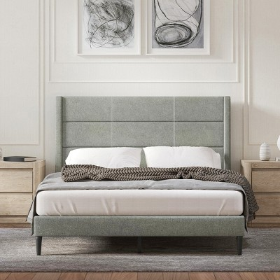 Glenwillow Home Pax Upholstered Platform Bed Frame, Sleak Wingback, Mattress Foundation, No Box Spring Needed, Easy Assembly