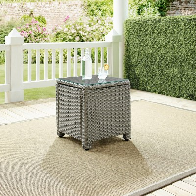 Bradenton Outdoor Wicker Side Table - Gray - Crosley