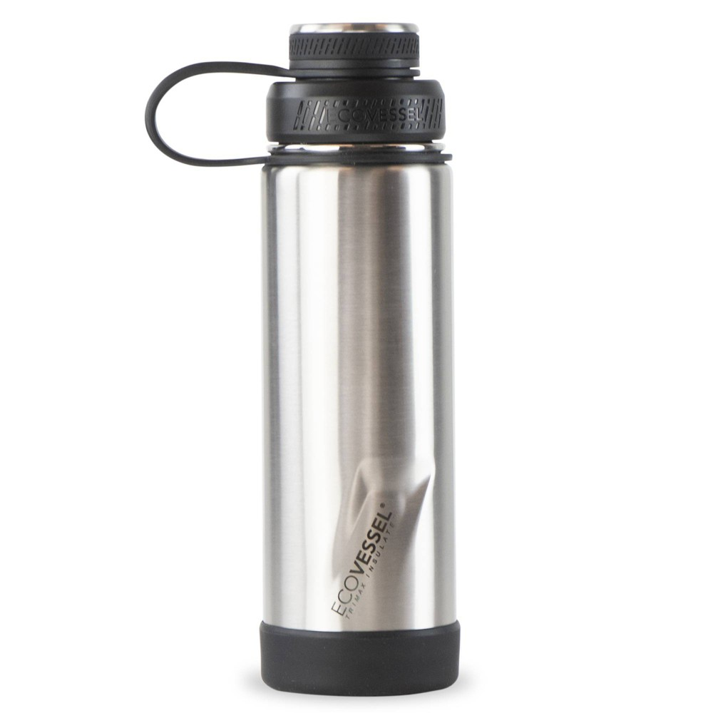 Ecovessel 20oz 160 Insulated Water Bottle With Stainless Steel Dual Opening Lid Silver