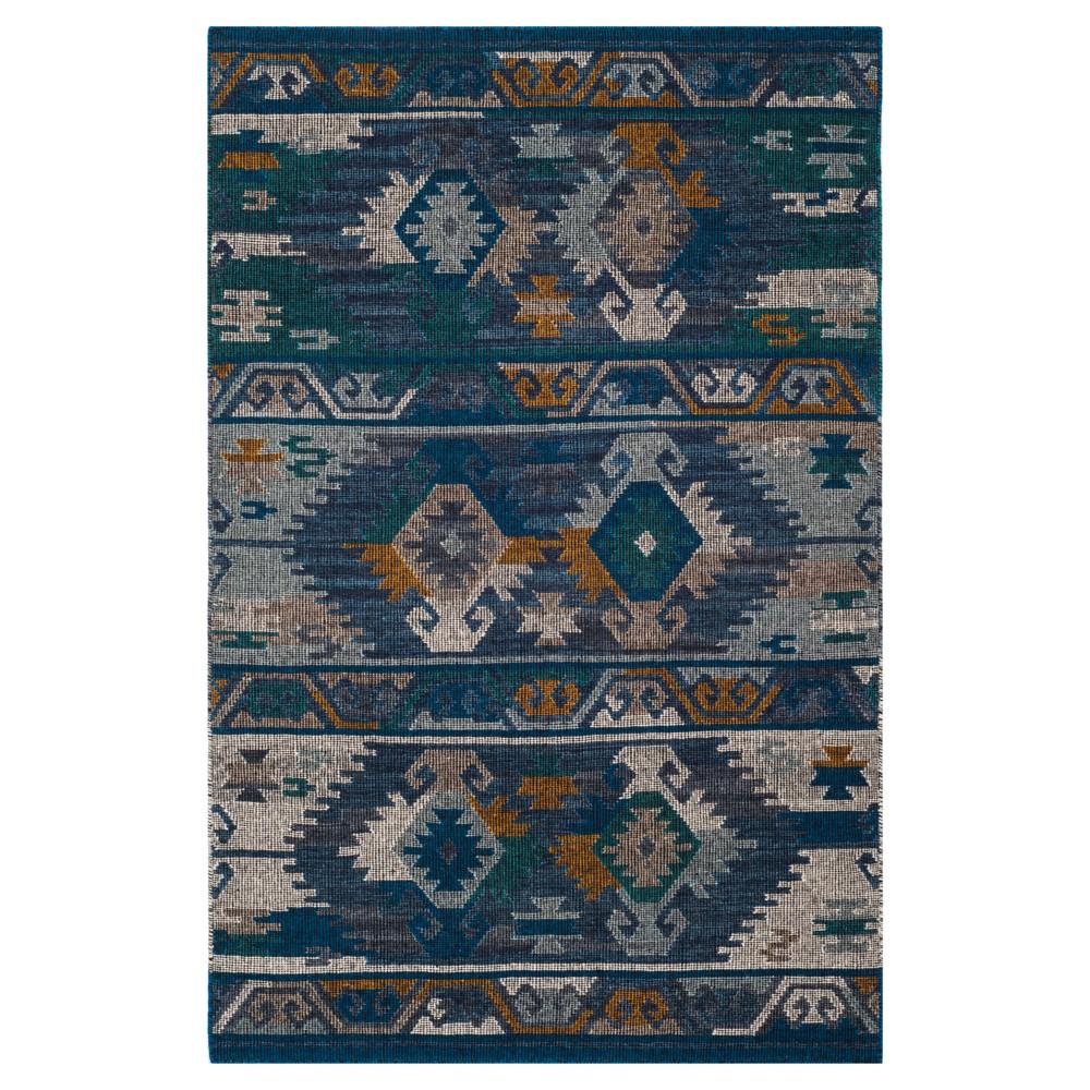 Tribal Design Woven Accent Rug 4'X6' - Safavieh, Blue Gold/Multi
