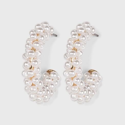 SUGARFIX by BaubleBar Pearl Embellished Hoop Earrings - White - image 1 of 3