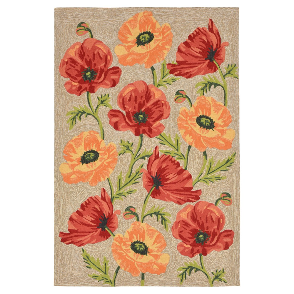 Natural Floral Tufted Accent Rug 3'7