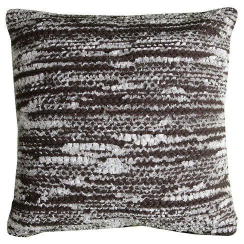 Charcoal Gray Striations Throw Pillow - (20x20) - Rizzy Home - image 1 of 1
