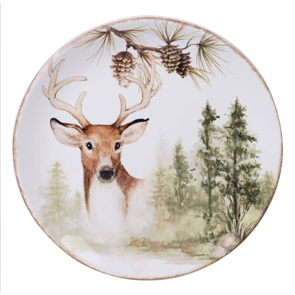 "Image of ""13"""" Earthenware Mountain Retreat Round Serving Platter White - Certified International"""