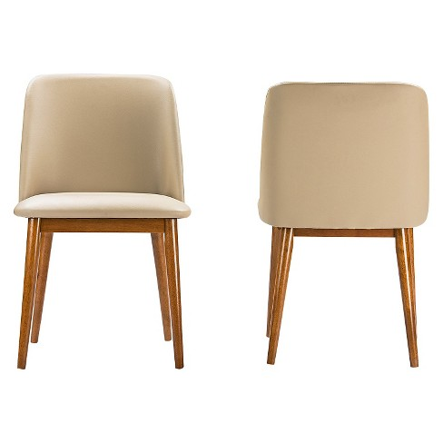 7c25cb1c1bd Lavin Mid-Century Faux Leather Dining Chairs - Brown Walnut Beige (Set Of 2)  - Baxton Studio   Target
