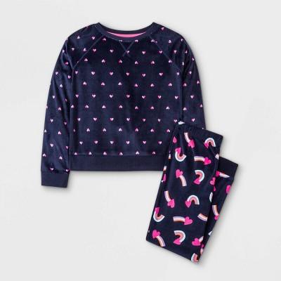 Girls' Mixed Rainbow Print Cozy Pajama Set - Cat & Jack™ Blue