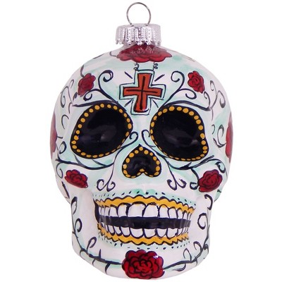 """Christmas by Krebs 3.25"""" White and Red Candy Skull Figurine Halloween Ornament"""