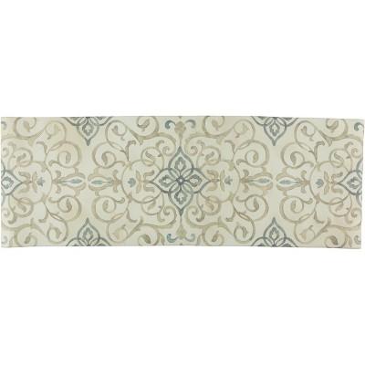 "20""x55"" Oversized Cushioned Anti-Fatigue Kitchen Runner Mat Rustic Medallion Cream - J&V Textiles"