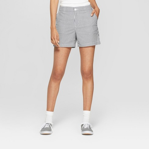 Women's Striped High-Rise Seersucker Chino Shorts - A New Day™ Navy/White - image 1 of 4
