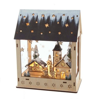 "Kurt Adler 9.5"" Battery-Operated Wooden Light Up House with Village Scene"