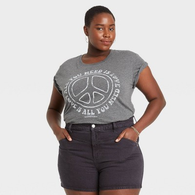 Women's The Beatles All You Need Is Love Short Sleeve Graphic T-Shirt - Gray