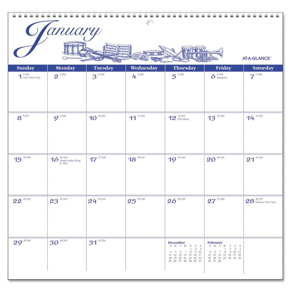 At-A-Glance 12-Month Illustrator's Edition Wall Calendar, 12