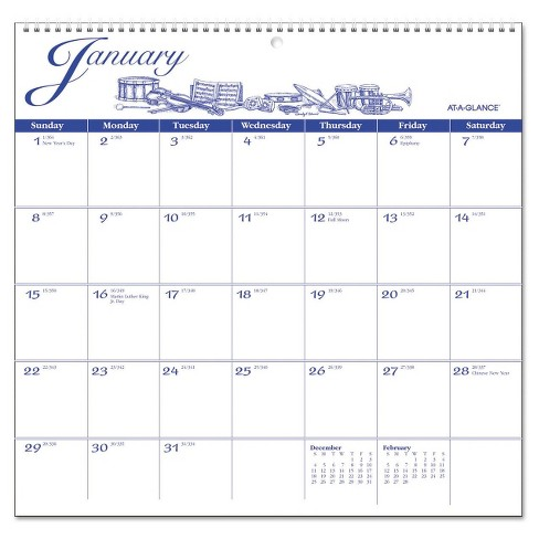 "AT-A-GLANCE® 12-Month Illustrator's Edition Wall Calendar, 12"" x 11.75"", Illustrations, 2017 - White - image 1 of 1"